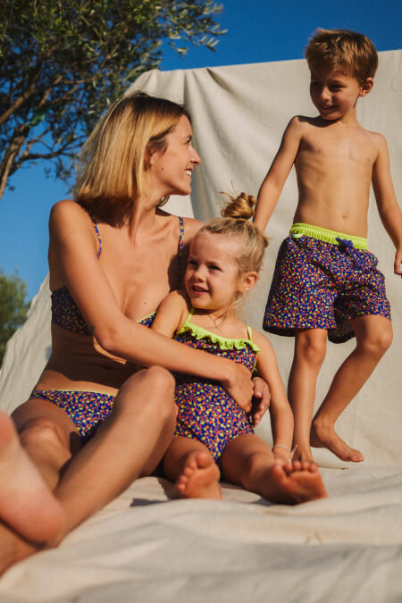 mother and daughter matching swimsuit graffiti