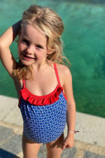 Petite fille portant un maillot de bain une-pièce Java navy kangaroos