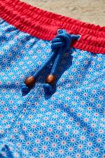 man wearing a swimsuit blue asanoha