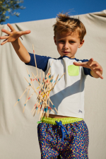 Kid wearing a Happy Holidays anti UV t-shirt