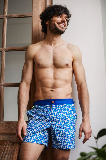 Man wearing a swimsuit with buttoned belt Full Moon