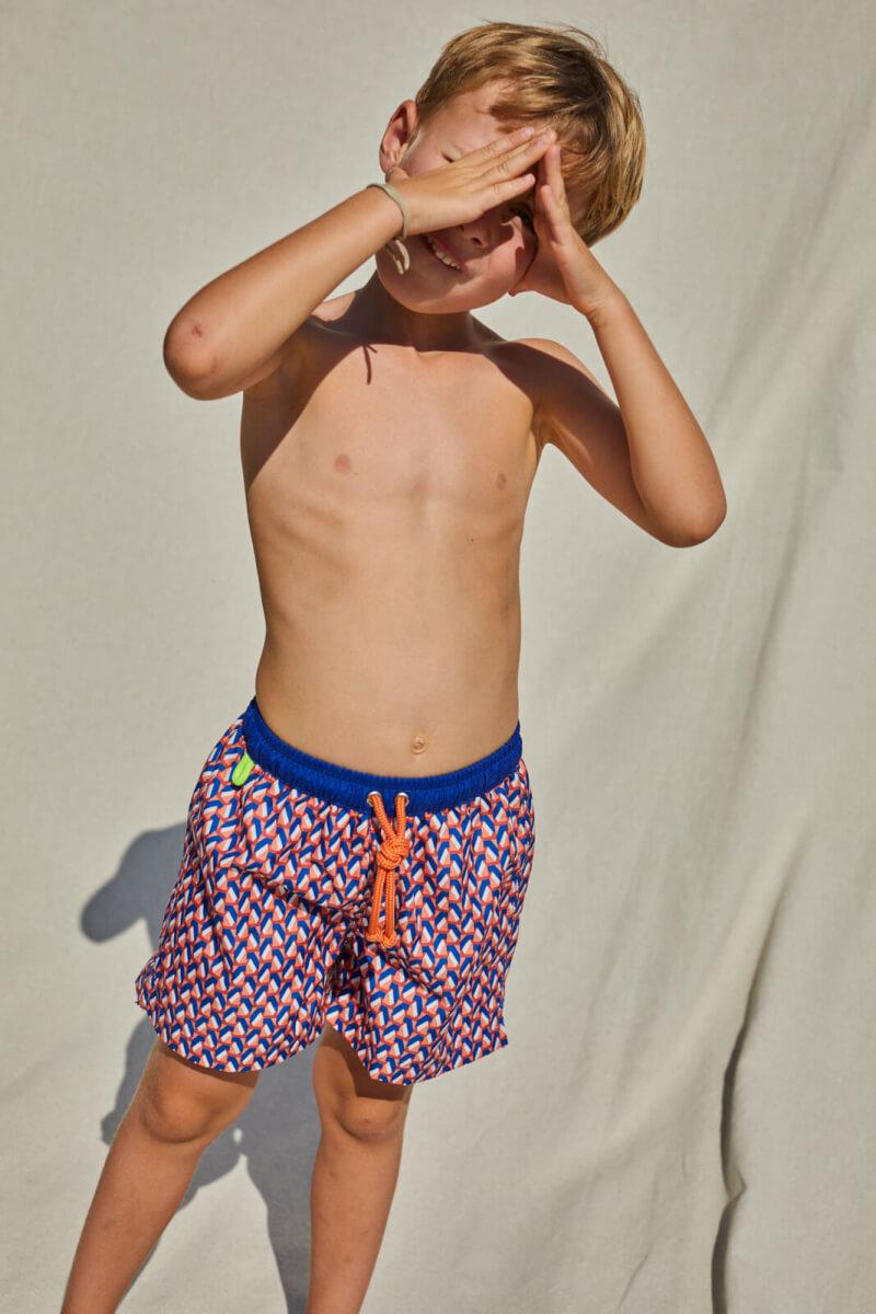 Garçon portant un maillot de bain à ceinture élastique Meno Lucy in the Sky