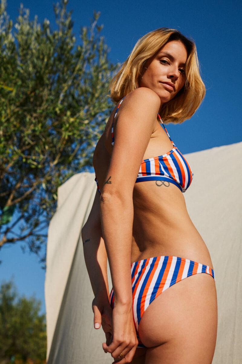 woman wearing a two-piece swimsuit La Baule