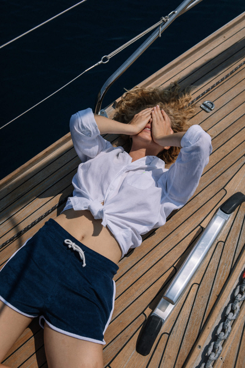 woman wearing a Navy terry cloth short