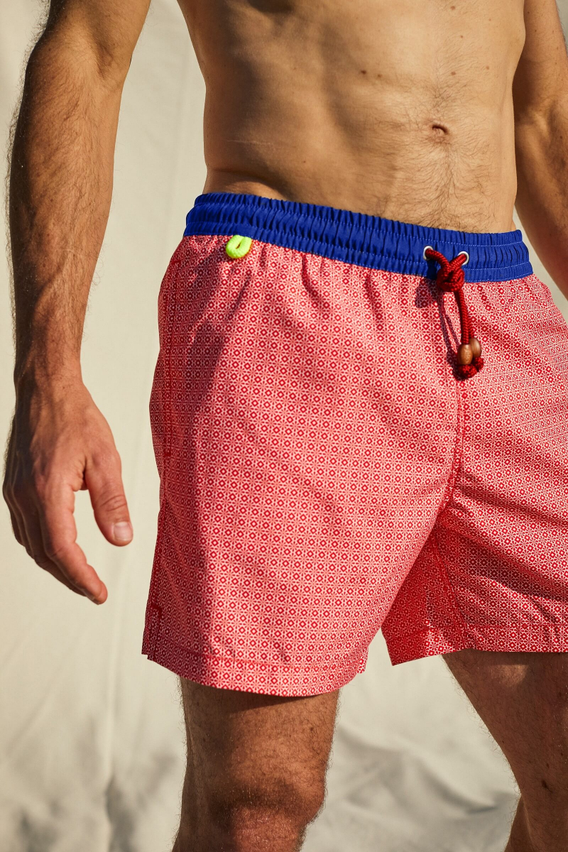 men's swimwear with ultra fast drying fabric Light Bright Red Azulejos