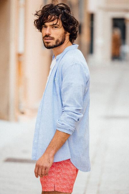 Man wears a Mixed Blue  mao collar shirt 2
